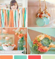 Wedding Color Ideas: Party Palette | Orange, Aqua, Coral Rose + Light Sage!