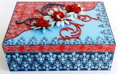 Caixa mdf pintada com carimbos