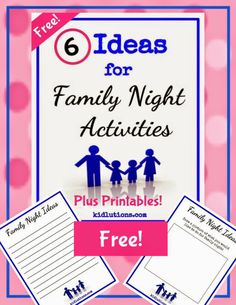 #Printables PLUS ideas! Use at home #childcare #summer #camp. Family Night Activity Planner Freebie with Printables