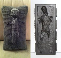 Han Solo in Carbonite Crochet Throw Pillow -- It was a nice try, though.