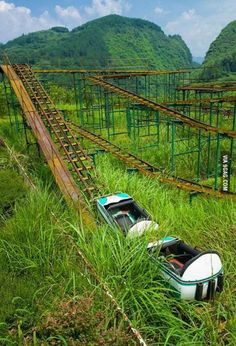 Abandoned roller coaster in Hubei Province, China