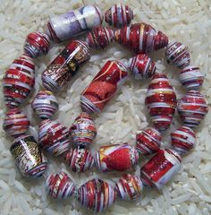 Paper Bead Red Orchid  Set A and Set B by deeann7 on Etsy, $10.00