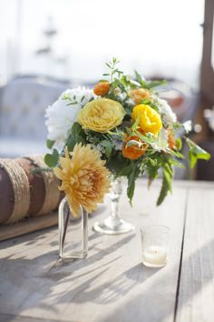 Before I Do Events texan going away party, florals, orange, golden, peach, white, wood, glass vase, http://beforeidoevents.com/ http://sweetmariedesigns.com/