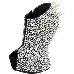 Giuseppe Zanotti Studded Crystal-Covered No-Heel Bootie ❤ liked on Polyvore