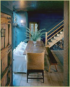 interior design, dining rooms, wall colors, chair, dine room, rustic table, blue walls, wall colours, rustic cabins