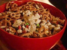 """Messy Sleepover Snacks Recipe - Pioneer Woman --- basically """"Puppy Chow"""" or """"Muddy Buddies"""" with Nutella added with the chocolate chips and peanut butter.  Yum!!"""