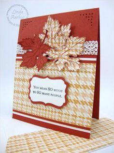 leav card, autumn card, card idea, thanksgiv, colors