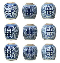 Collection of Chinese Ginger Jars by Found