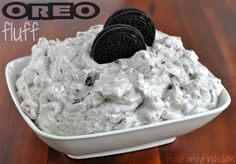 OREO fluff dessert recipe: 1 small box White Chocolate instant pudding mix 2 cups milk 1 small tub Cool Whip 24 OREOS, crushed 2 cups mini marshmallows
