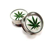 Pot Leaf Picture Plugs gauges - 1 1/8, 1 1/4, 1 3/8, 1 1/2 inch. $24,99, via Etsy.