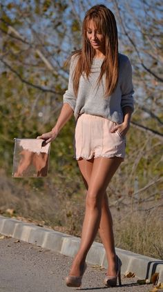 pink pastel, sequin shorts and fashion trends.