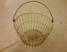 Large Vintage Cream Wire Egg Basket / Wire Basket / Cream Basket / Rustic Egg Basket / Cream Coated Wire Basket / Egg Basket / Wire Basket on Etsy, $30.00