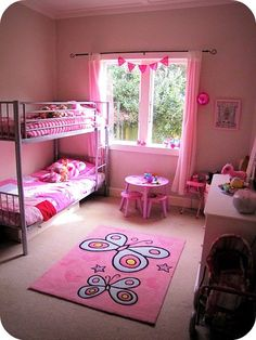 Girls room #pretty #pink #bedroom #bunks #girls #girl #bunting #butterfly #space #decor