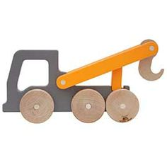 Gray & Orange Tow Truck Wooden Push Toy