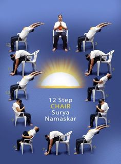 Seated Sun Salutations via ranawaxman: Learn simple yoga practices and adapt them to your surroundings and amount of time you have for practice... be cautious – it looks like she is throwing her head back, you want to lengthen the front body not throw the head back... #Yoga #Chair_Yoga