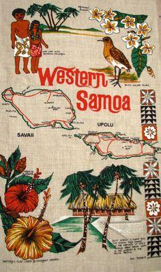 WESTERN SAMOA Vintage Tea Towel map of Savaii by HeritageAndHeart, $20.00