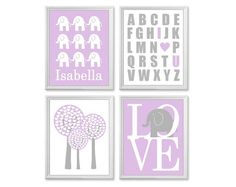 Baby Girl Nursery Art, Personalized, Set of Four 11x14 Prints, Lilac and Gray Art, Elephants, Trees, Name, Love