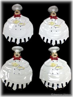 4 Fat French Chef Plates