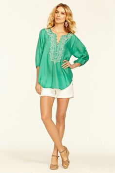 Dionis Silk Sequin Tunic. Nothing says St. Barth's like this particular hue.