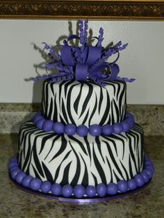 Purple Zebra Print — Birthday Cakes