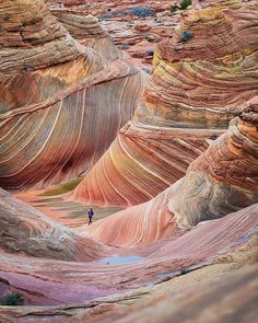 Colour, showing subtle changes of hue and shade. Also movement of line, repetition of pattern could be the start of an embroidery, quilt or dyeing project. The Wave, Arizona, U.S.A.