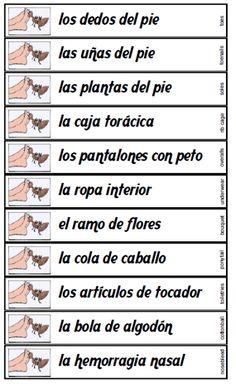 Dedos del pie printable Spanish noun phrases game -- FREE to download & print!