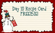 Use today's FREEBIE to record some of your favorite holiday recipes! Recipes make great gift toppers or fun extras to include with your Christmas cards too!  Enjoy! Available today only!
