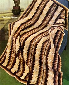 NEW! Pine Tree Afghan crochet pattern from Your Favorite Afghans to Knit & Crochet, Volume No. 45, from 1966.