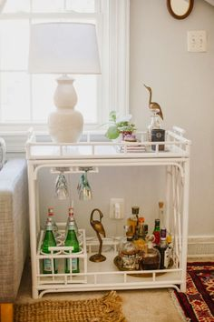 The Society Social Worth Bar Cart in Caitlin's Fall Living Room via Glitter Guide