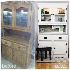 Craft Storage Cupboard Makeover- Americana Decor Chalky Finish Paint - Lil' Mrs. Tori