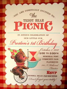 teddy bear picnic first birthday party invitation by loralee lewis