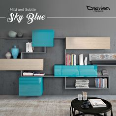 A modular shelf with plenty of storage in light shades of #skyblue will definitely arrest everyone's attention. #coloursofnavratri