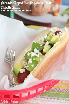 Avocado Topped Hot Dogs with Creamy Chipotle Sauce