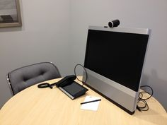 Pictured inside of a Third Workplace Private Office, the video conferencing unit is movable and makes interviews and multi-person meetings oh so convenient. There is no need to crouch in front of your laptop when you can communicate comfortably!