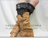 NEW hand knit look knit leg warmers in CHARCOAL GREY w 2 antique metal lace buttons amazing quality leg warmers Catherine Cole Studio
