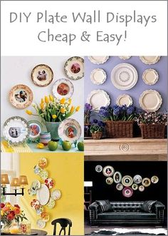 DIY Plate wall displays Who knew you could use E6000 glue from any craft store and a large paper clip to hang plates! Who knew!