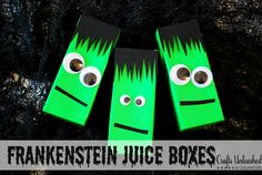 Frankenstein juice boxes. Green duct tape, black paper and googley eyes.