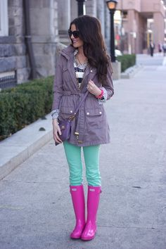 green jeans, jacket, fashion, mint green, color combos, rainy day outfits, coat, boots, bright colors