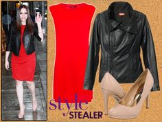 If you're looking for a sexy clothing combination, you really can't go wrong with a red dress and black leather jacket. Add beige pumps for mile-long legs and you're good to go. #Vday