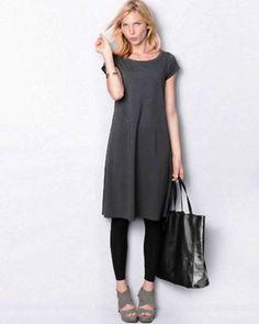 EILEEN-FISHER-NWT-Organic-Cotton-Cap-Sleeve-Dress-GRAPHITE-M