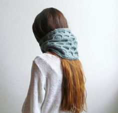 Grey green scarf   Geometric Hexagon pattern  by KnittingMamas