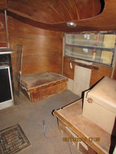 Front dinette section of our '51 Airstream Cruisette.  Not many made (less than 70).  Not many had birch wood paneling on the interior walls either.  A collector's dream.   IT'S FOR SALE.  There is still time to create your own interior.