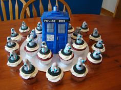 Dr. Who cake and cupcakes......Tardis is Blue Velvet with Marshmallow fondant. The Dalek Cupcakes are Red velvet with cream cheese frosting and the toppers were made from Marshmallow fondant.