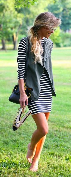 stripped summer dress, I like that the leather vest could be taken off to make it look less casual, great fall work outfit with different shoes