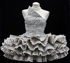 Jolis Paons paper dress made of recycled phone books duct tape, books, paper dresses, paper fashion, art, book pages, papers, paper sculptures, newspaper