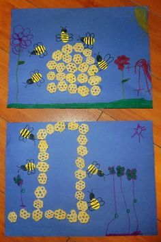 Mom to 2 Posh Lil Divas: Honeycomb Art & Fingerprint Bees