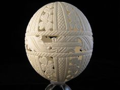 Amazing! Nellie Whitener carves some amazing eggshell designs. This is an Ostrich Egg, hand carved using high speed engraving equipment.