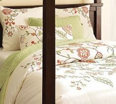 Really want an embroidered duvet cover like this Anne Marie one from Pottery Barn