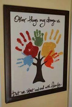 Family tree use kids handprints