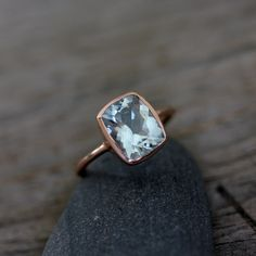 Aquamarine Cushion Gemstone OCEAN Blue in Recycled 14k Rose Gold, Custom Made Engagement or Right Hand Ring. $618.00, via Etsy.